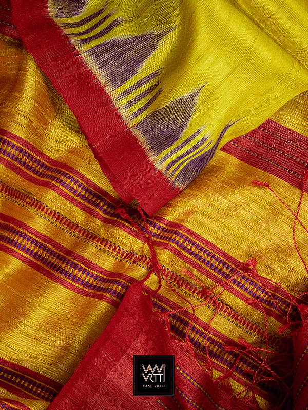 BANANA YELLOW RED NADI KHADI TUSSAR SILK SAREE