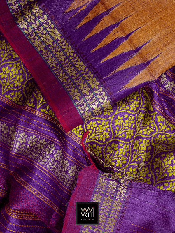 RUST ORANGE PURPLE PARIJAT KHADI TUSSAR SILK SAREE