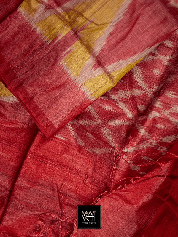 RED YELLOW LILY IKKAT KHADI TUSSAR SILK SAREE