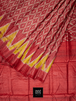 RED YELLOW LILY IKAT KHADI TUSSAR SILK SAREE