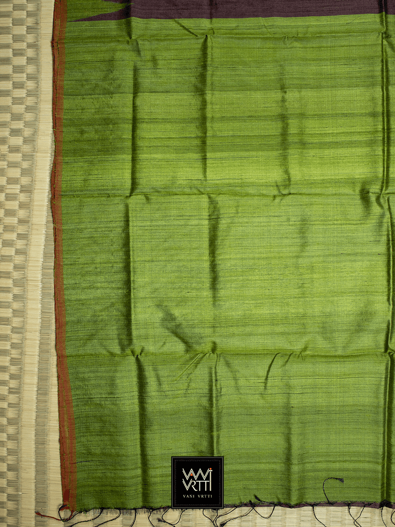 Brown Mehendi Antara Khadi Tussar Silk Saree