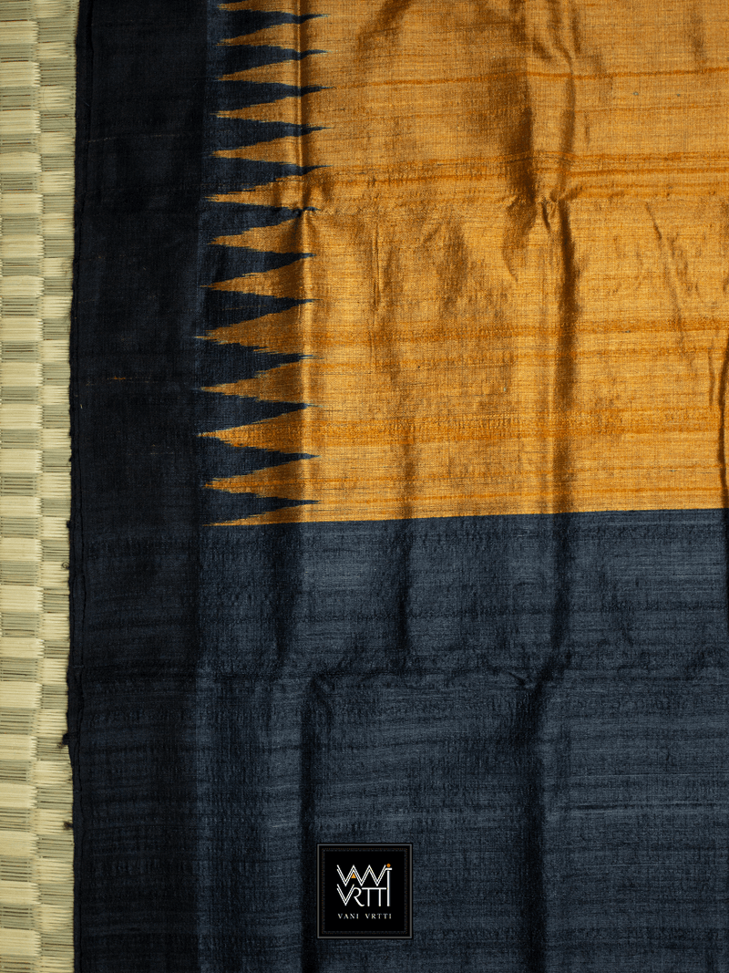 RUST ORANGE BLACK ANTARA KHADI TUSSAR SILK SAREE