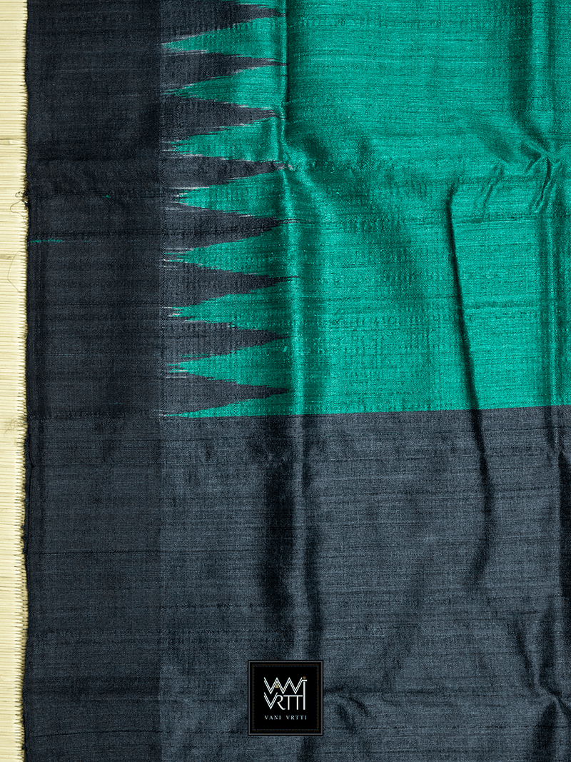 BOTTLE GREEN ANTARA KHADI TUSSAR SILK SAREE