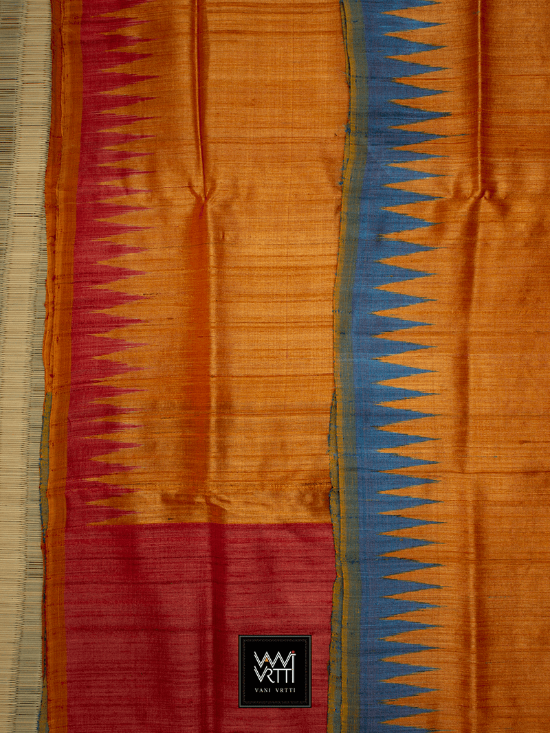 ORANGE RED BLUE GANGA JAMUNA ANTARA KHADI TUSSAR SILK SAREE