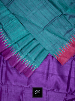 Emerald Green Purple Red Antara Khadi Tussar Silk Saree