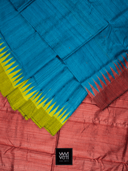 SPACE BLUE YELLOW RED ANTARA KHADI TUSSAR SILK SAREE