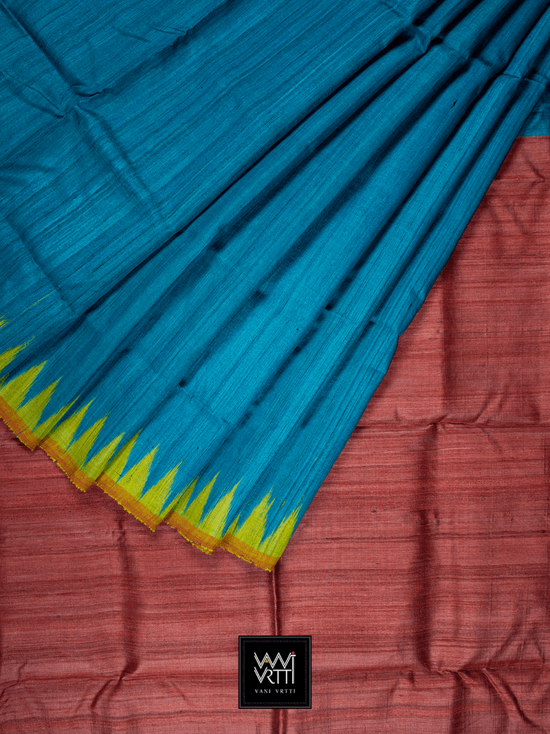 PEACOCK BLUE YELLOW ANTARA KHADI TUSSAR SILK SAREE