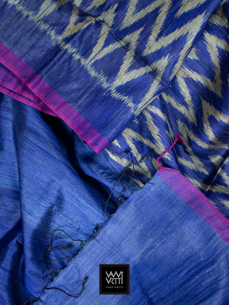 Royal Blue Aziz Khadi Tussar Silk Saree