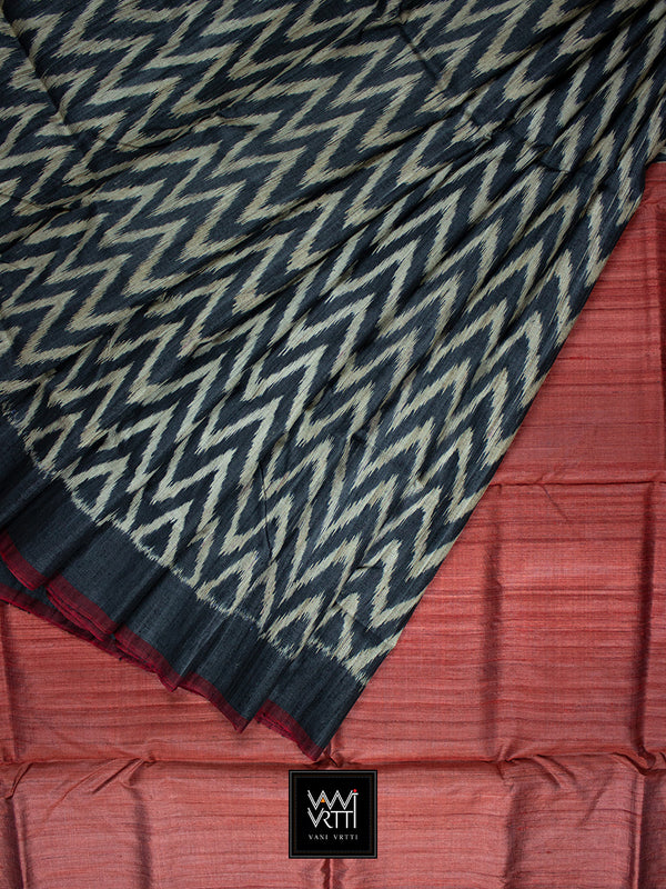 Black Red Aziz Khadi Tussar Silk Saree