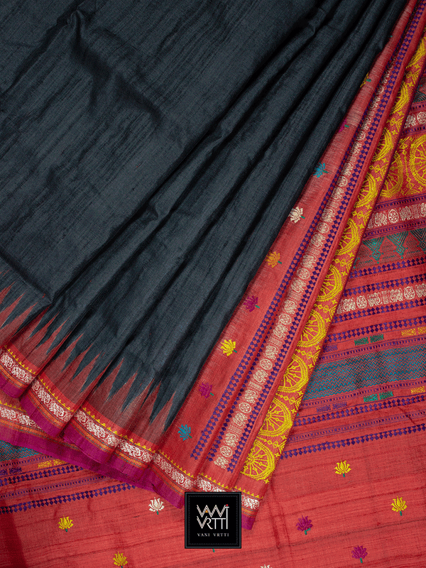 Black Red Airavata Konark Double Palla Khadi Tussar Silk Saree