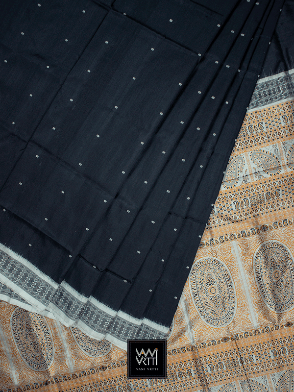 Black & Grey Traditional Bomkai Mulberry Silk Saree