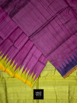 Magenta Lime Green Purple Antara Khadi Tussar Silk Saree