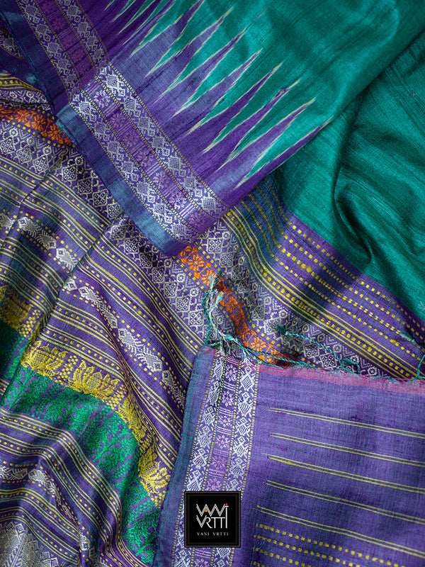 Emerald Green Purple Katchhap Khadi Tussar Silk Saree