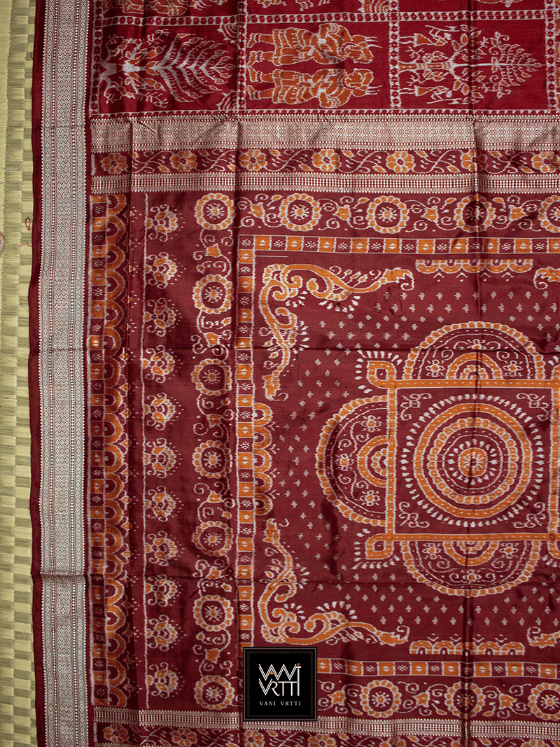 Maroon Tribal Tree of Life Sambalpuri Ikat Mulberry Silk Saree