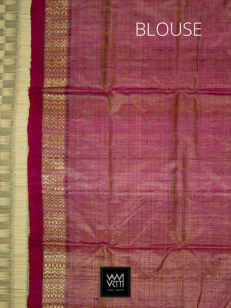 Yellow Pink Parijat Khadi Tussar Silk Saree