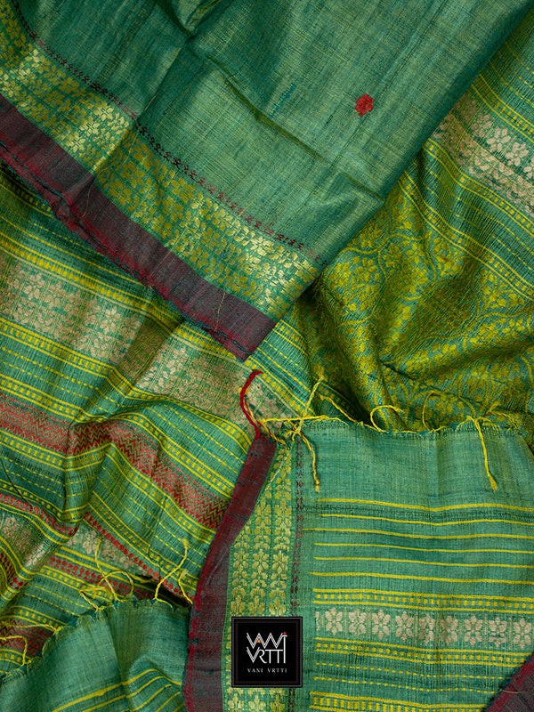 Sab Green Parijat Khadi Tussar Silk Saree
