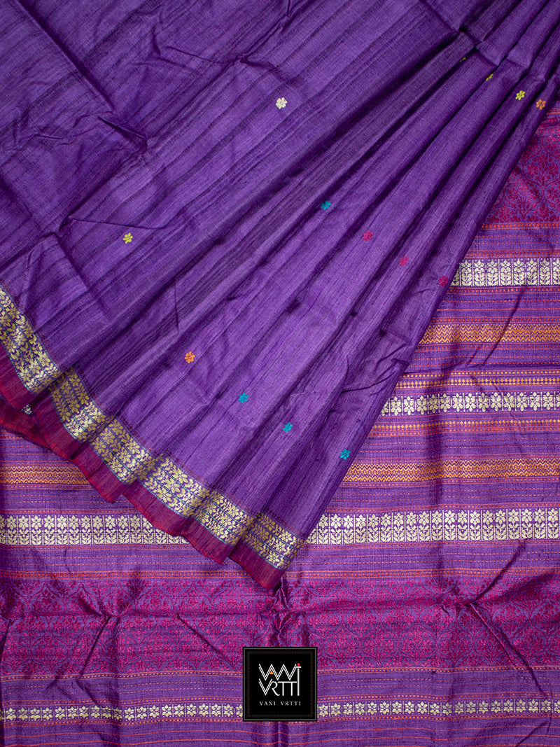 Purple Parijat Khadi Tussar Silk Saree