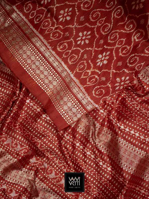 Madder Red Jhoti Praakrtik Natural Dyed Mulberry Silk Ikat Saree