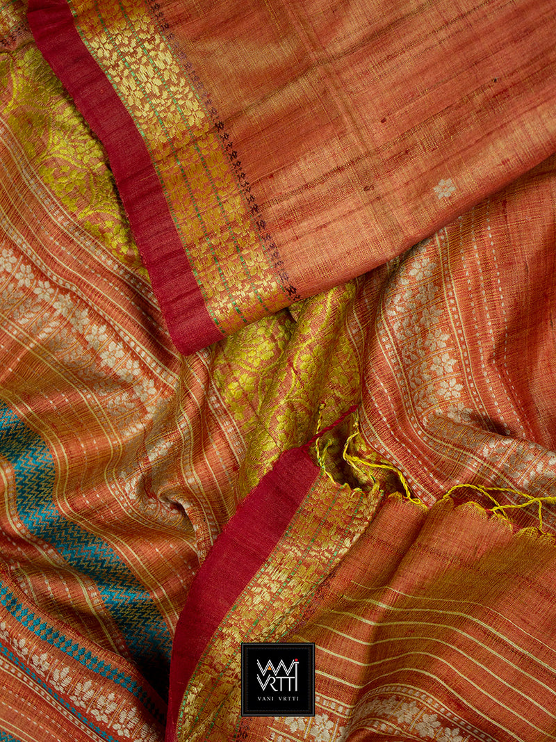 Rust Orange Parijat Khadi Tussar Silk Saree