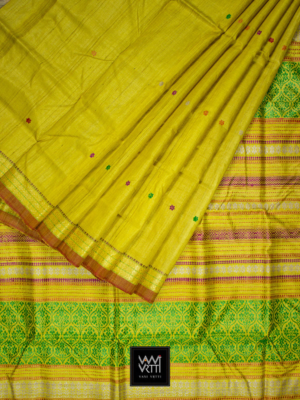 Banana Yellow Parijat Khadi Tussar Silk Saree