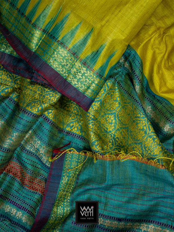 Banana Yellow Turquoise Green Parijat Khadi Tussar Silk Saree