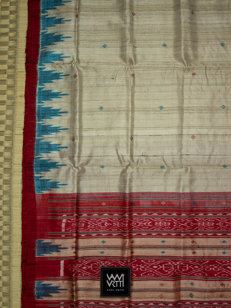 Off White Turquoise Red Nadi Khadi Tussar Silk Saree