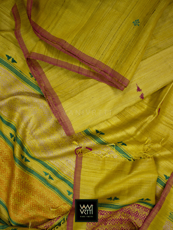 Banana Yellow Kalpavriksha Khadi Tussar Silk Saree