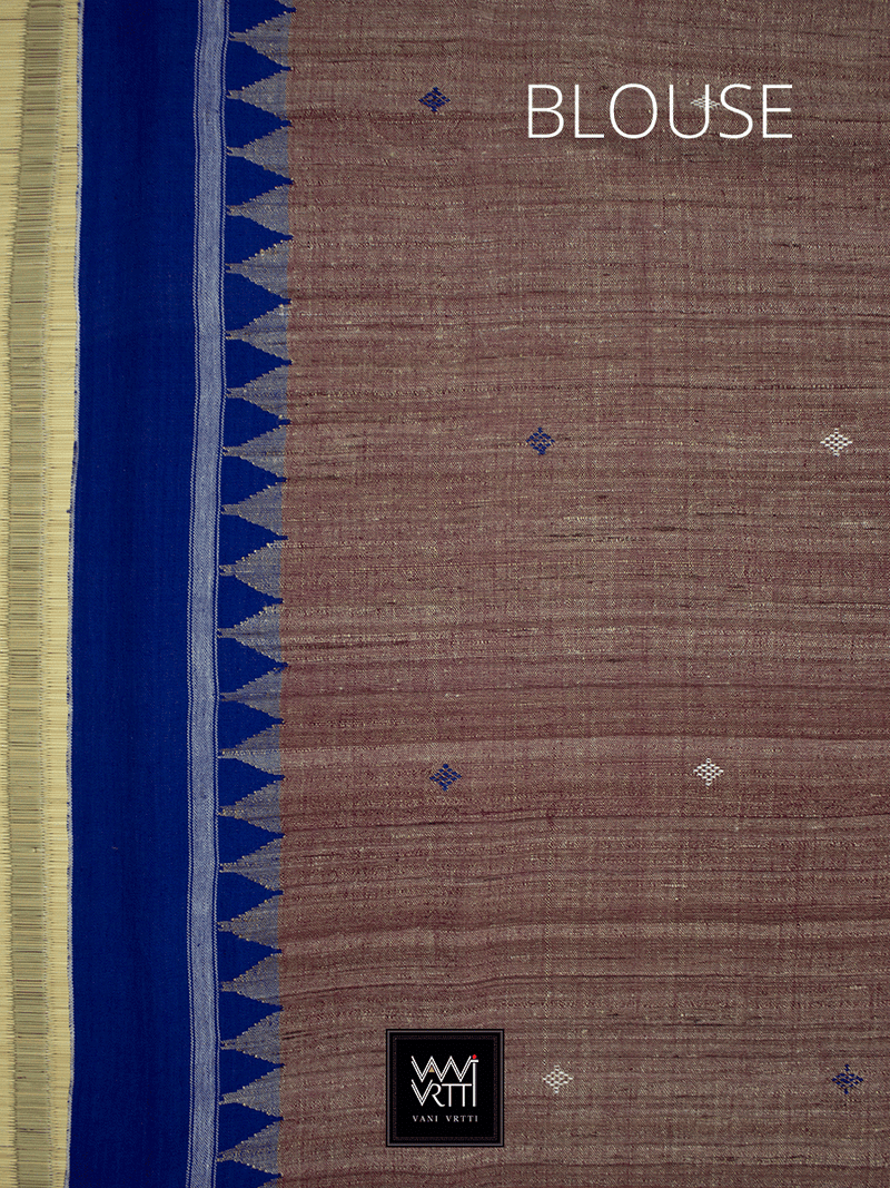 Light Brown Indigo Master Weave Natural Dyed Phoda Kumbha Handwoven Tussar Kotpad Saree