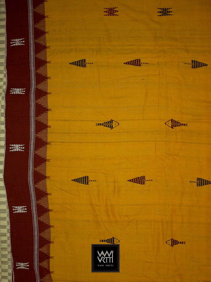 Haldi Black Madder Red Natural Dyed Phoda Kumbha Handwoven Cotton Kotpad Saree