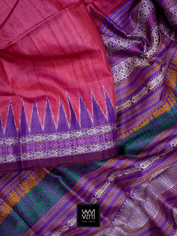 Pinkish Red Purple Katchhap Khadi Tussar Silk Saree