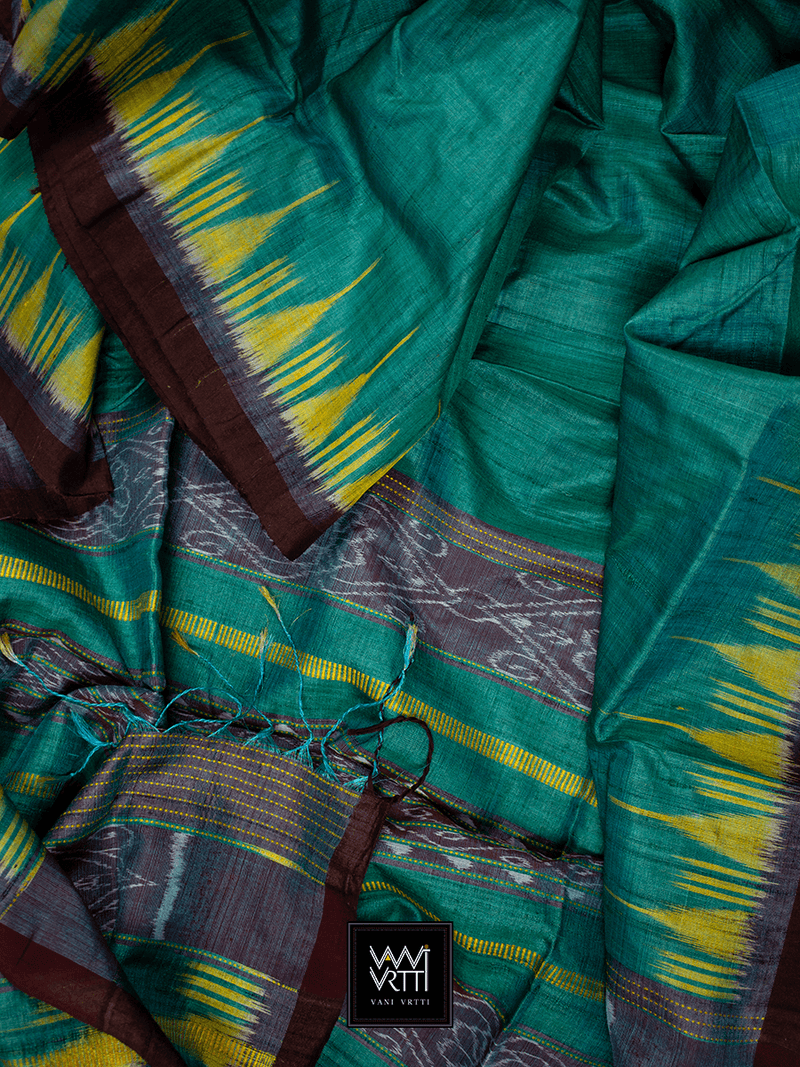 Teal Green Nadi Khadi Tussar Silk Saree