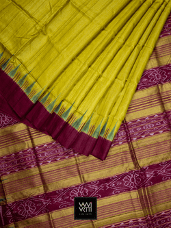 Leaf Green Nadi Khadi Tussar Silk Saree