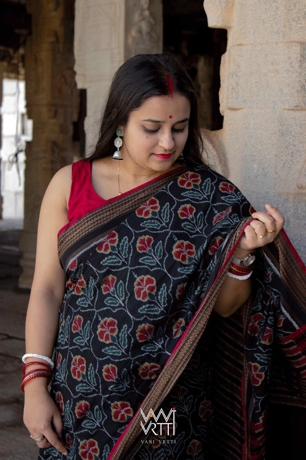 Black Laal Jaba Single Ikat Fine Cotton Designer Saree