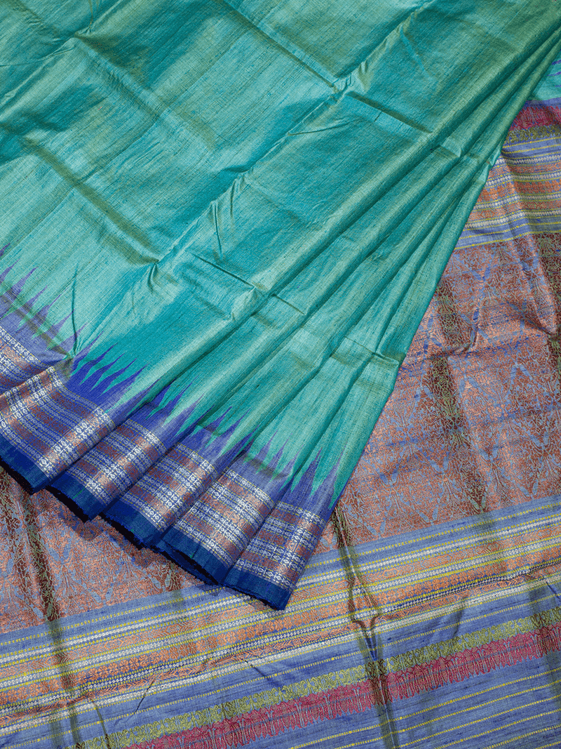 Sea Green Shristhi Khadi Tussar Silk Saree