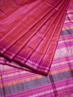 Red Pink Kachhap Khadi Tussar Silk Saree