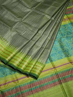 Grey Leaf Green Shristhi Khadi Tussar Silk Saree