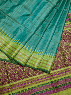 Sea Green Shristi Khadi Tussar Silk Saree