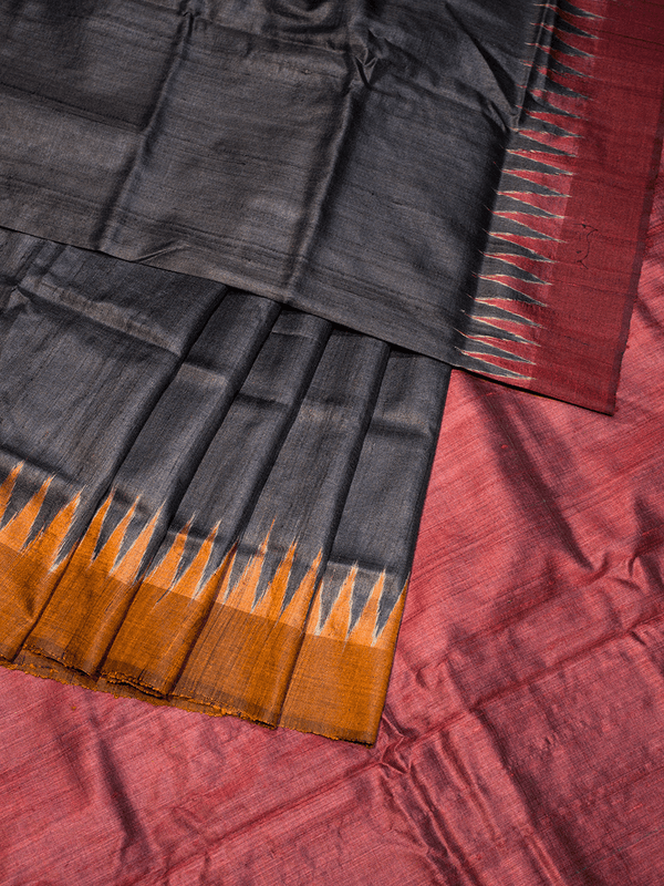 Black Red Orange Ganga Jamuna Khadi Tussar Silk Saree