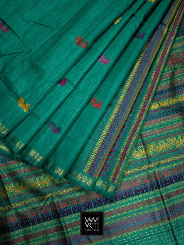 Emerald Green Peacock Jewelled Color Milan Barsat Double Palla Khadi Tussar Silk Saree