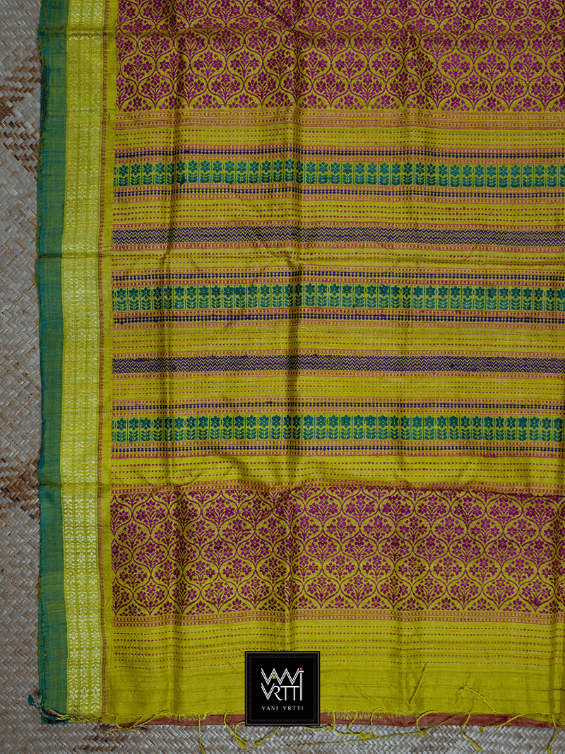 Peach Yellow Parijat Khadi Tussar Silk Saree