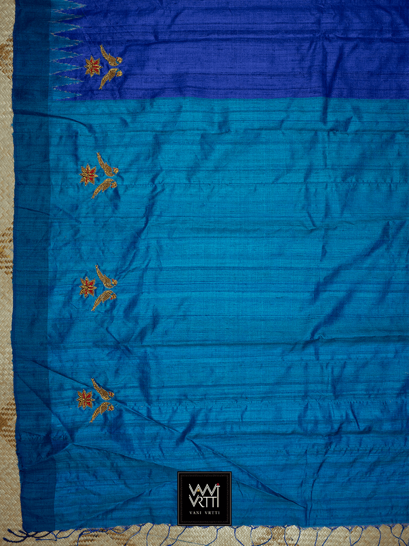 Royal Blue Ikkat Lotus Parrot Noor Zardozi Tussar Silk Saree