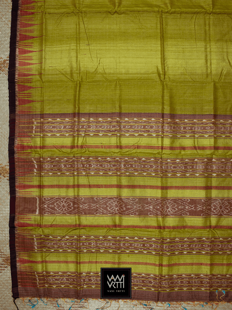 Golden Yellow Nadi Khadi Tussar Silk Saree