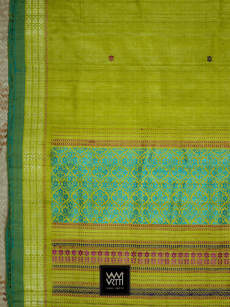 Banana Leaf Green Parijat Khadi Tussar Silk Saree