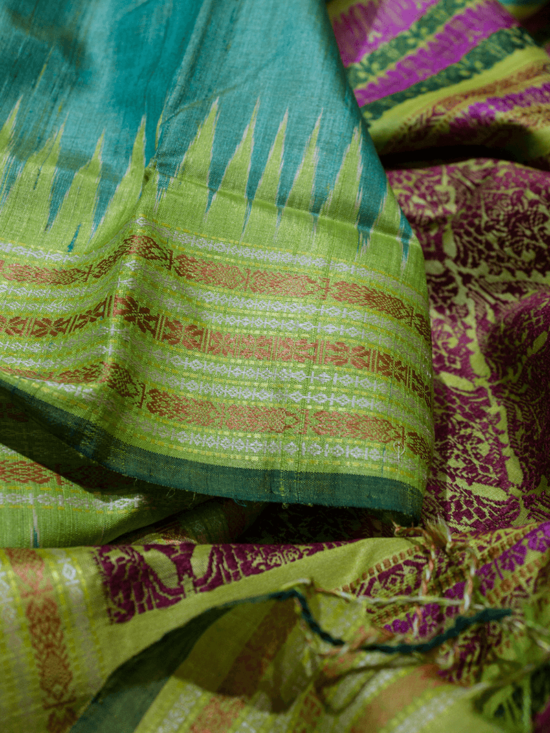 Sea Green Matsya Khadi Tussar Silk Saree