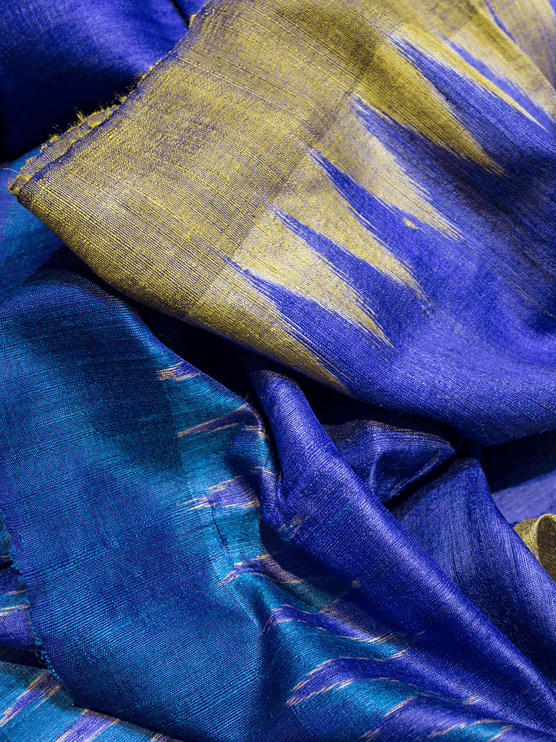 Royal Blue Gurubari Khadi Tussar Silk Saree