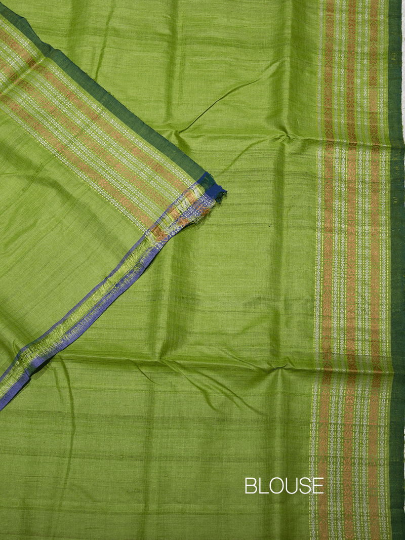 Grey Leaf Green Matsya Khadi Tussar Silk Saree