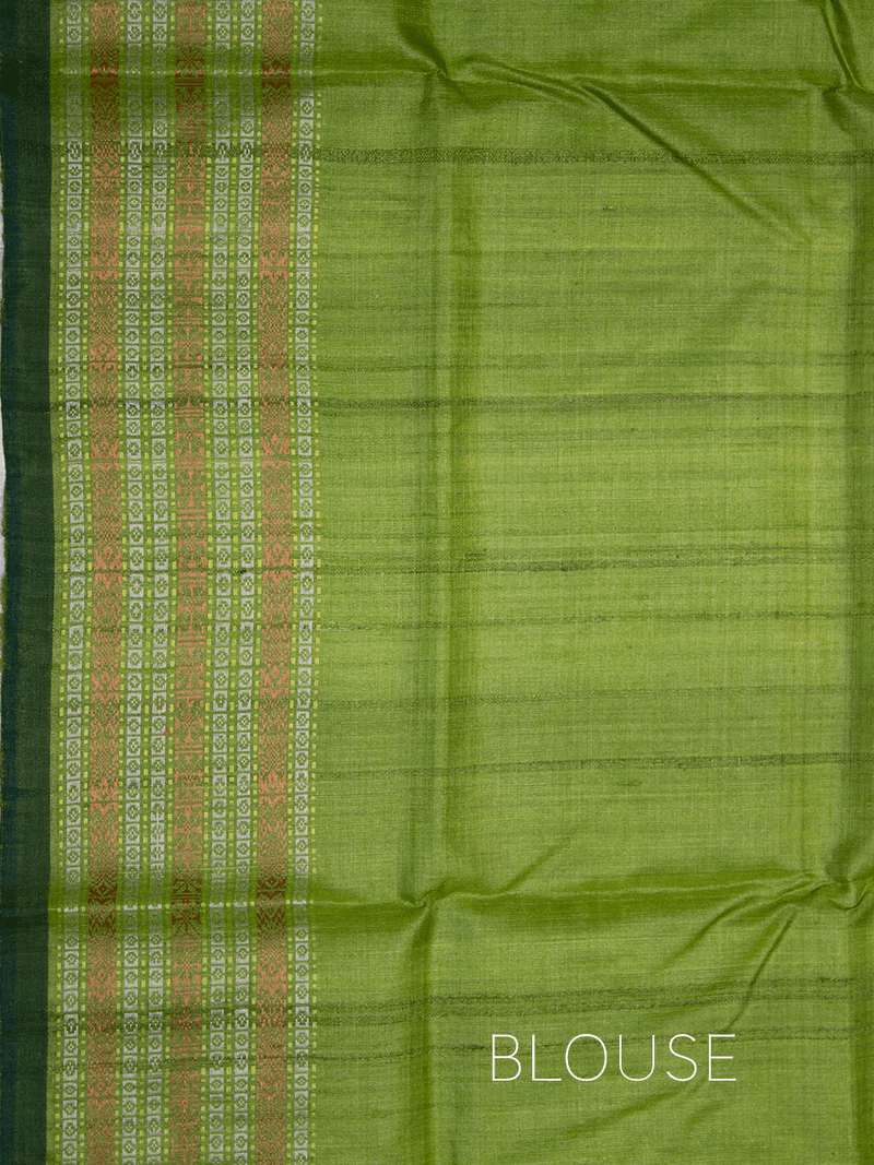 Off White Turk Green Matsya Khadi Tussar Silk Saree