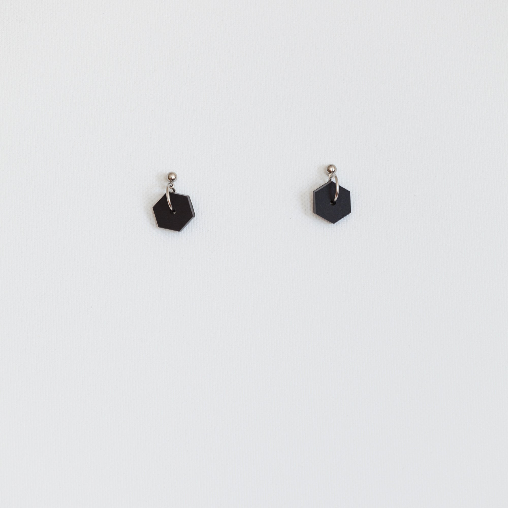 Black Hexagon earrings