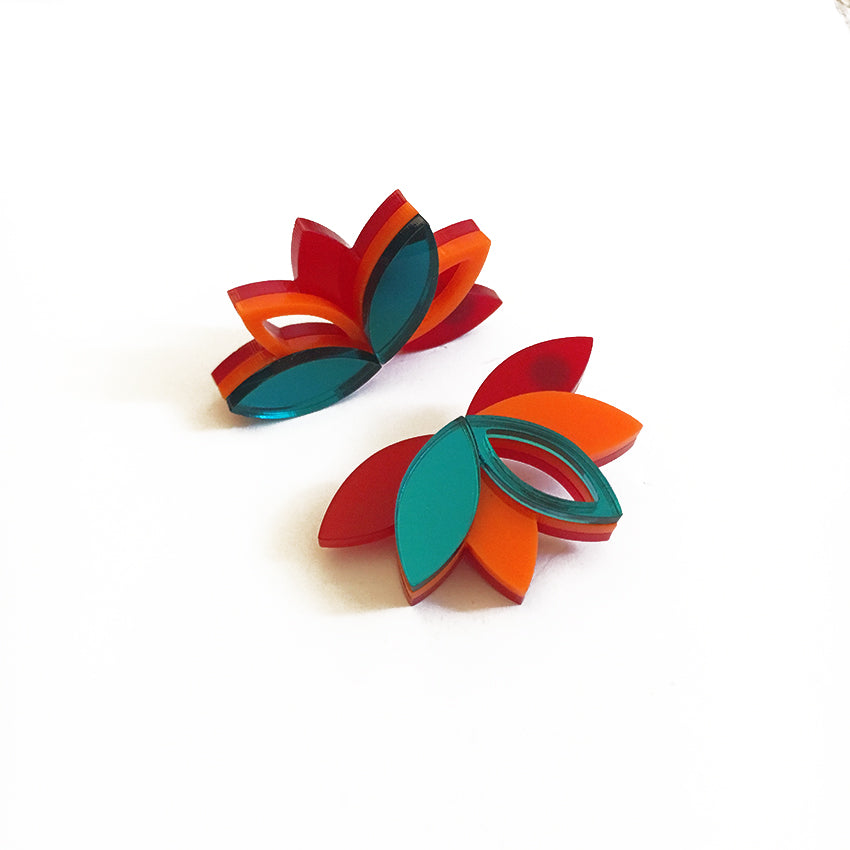 VITAL LOTUS TEAL EARRINGS