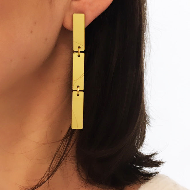 BARS METALLIC GOLD EARRINGS